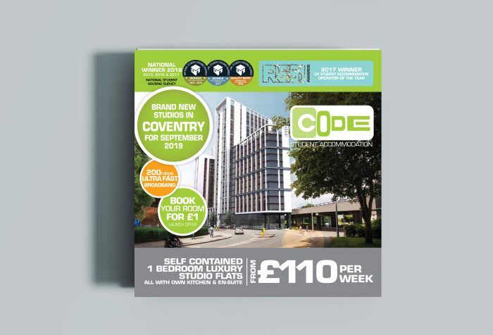 CODE Student Accommodation marketing brochure